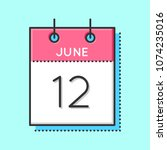 vector calendar icon. flat and... | Shutterstock .eps vector #1074235016