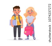 couple of pupils. a boy and a... | Shutterstock .eps vector #1074237272
