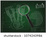 machine building drawing.... | Shutterstock .eps vector #1074243986