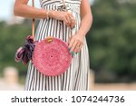 woman with fashionable stylish... | Shutterstock . vector #1074244736