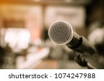microphones on abstract blurred ... | Shutterstock . vector #1074247988