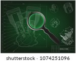 machine building drawing.... | Shutterstock .eps vector #1074251096