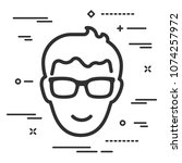 flat happy head of man with... | Shutterstock .eps vector #1074257972
