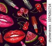 embroidery lips and cherry...   Shutterstock .eps vector #1074261716