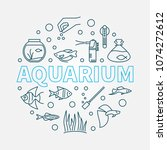 aquarium vector round... | Shutterstock .eps vector #1074272612
