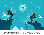 two businessmen working...   Shutterstock .eps vector #1074272732