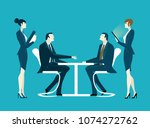 two businessmen with assistants ... | Shutterstock .eps vector #1074272762