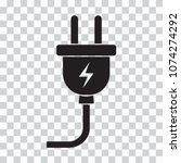 black electric plug icon on... | Shutterstock .eps vector #1074274292