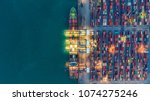 container ship in export and... | Shutterstock . vector #1074275246