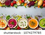 variety of colorful vegetables... | Shutterstock . vector #1074279785