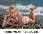 girl on a beach | Shutterstock . vector #107429186
