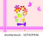 vintage card with flowers and... | Shutterstock . vector #107429546