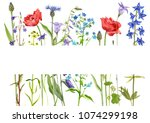 template with watercolor... | Shutterstock . vector #1074299198