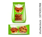 chocolate chip cookies big and...   Shutterstock .eps vector #1074301988