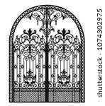 arched metal gate with forged... | Shutterstock .eps vector #1074302975