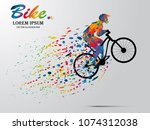 visual drawing bike fast of... | Shutterstock .eps vector #1074312038