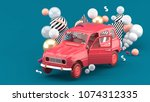 a red car among colorful balls... | Shutterstock . vector #1074312335