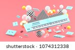blue piano keyboard and blue... | Shutterstock . vector #1074312338