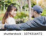 portrait attractive handsome... | Shutterstock . vector #1074316472