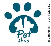 Stock vector pet shop logo dog and cat icon vector logo emblem label design elements for pet shop zoo shop 1074321152