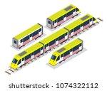 isometric set of yellow subway...   Shutterstock .eps vector #1074322112