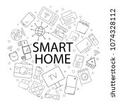 vector smart home pattern with... | Shutterstock .eps vector #1074328112