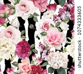 seamless floral pattern with... | Shutterstock .eps vector #1074333605