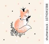 cute fox princess  decorative... | Shutterstock .eps vector #1074341588
