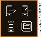 set of 4 iphone outline icons... | Shutterstock .eps vector #1074341606
