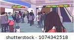illustration of busy subway ... | Shutterstock .eps vector #1074342518