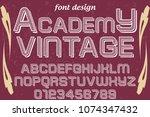 font alphabet script typeface... | Shutterstock .eps vector #1074347432