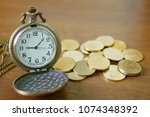 vintage golden pocket watch... | Shutterstock . vector #1074348392