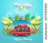 vector illustration in summer.... | Shutterstock .eps vector #1074355505
