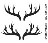 set of deer horns on white ... | Shutterstock .eps vector #1074358325
