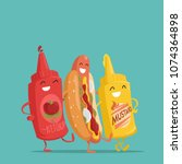 hot dog  ketchup and mustard.... | Shutterstock .eps vector #1074364898