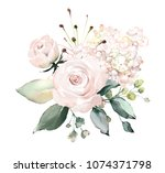 watercolor flowers. floral... | Shutterstock . vector #1074371798
