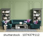 classic interior in green... | Shutterstock . vector #1074379112