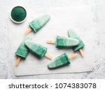 superfood spirulina popsicles.... | Shutterstock . vector #1074383078