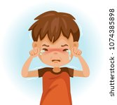 little crying boy. children's... | Shutterstock .eps vector #1074385898