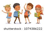 back to school. boy and girl... | Shutterstock .eps vector #1074386222