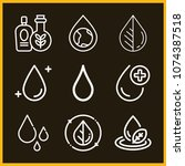 set of 9 drop outline icons... | Shutterstock .eps vector #1074387518