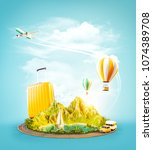 unusual 3d illustration of a... | Shutterstock . vector #1074389708
