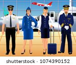 aircraft pilots and... | Shutterstock .eps vector #1074390152