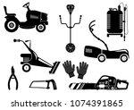 set of silhouettes of garden... | Shutterstock .eps vector #1074391865