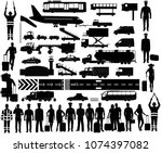 airport equipment  crew and... | Shutterstock .eps vector #1074397082