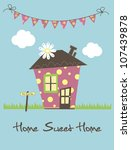Home Sweet Home Card. Vector...