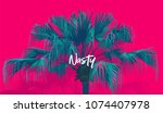 tropic chinese fan palm tree.... | Shutterstock .eps vector #1074407978