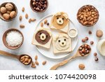 nut butter banana toast for... | Shutterstock . vector #1074420098