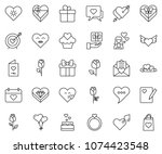 thin line icon set   rose... | Shutterstock .eps vector #1074423548