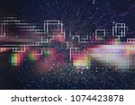 futuristic retro background of... | Shutterstock . vector #1074423878